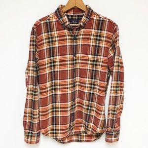 AEO Orange Plaid Flannel Button Down Shirt 10V